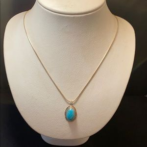 Turquoise pendant w/ as chain